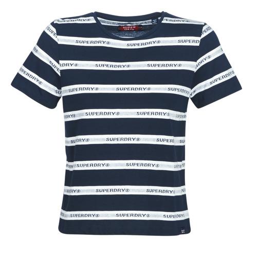 Vêtements Femme T-shirts manches courtes Superdry COTE STRIPE TEXT TEE Marine