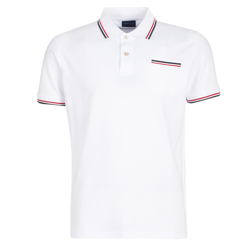 Vêtements Homme Polos manches courtes Gant COL TIPPING PIQUE Blanc