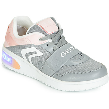 Chaussures Fille Baskets montantes Geox J XLED GIRL Gris / Rose / LED