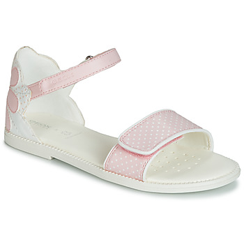 Chaussures Fille Sandales et Nu-pieds Geox J SANDAL KARLY GIRL Blanc / Rose
