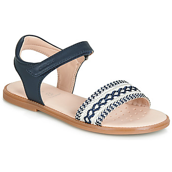 Chaussures Fille Sandales et Nu-pieds Geox J SANDAL KARLY GIRL Marine / Blanc / Raphia