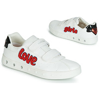 Chaussures Fille Baskets basses Geox J SKYLIN GIRL Blanc / Rouge