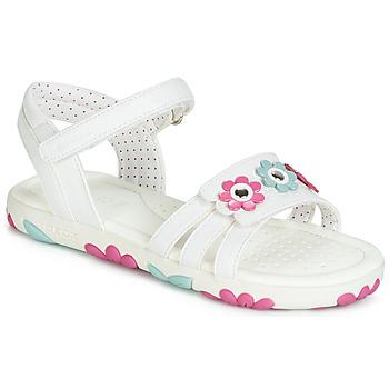 Chaussures Fille Sandales et Nu-pieds Geox J SANDAL HAITI GIRL Blanc