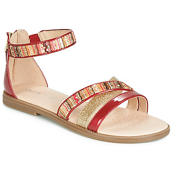 Chaussures Fille Sandales et Nu-pieds Geox J SANDAL KARLY GIRL Rouge / Or