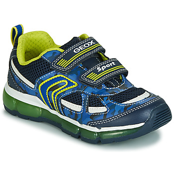Chaussures Garçon Baskets basses Geox J ANDROID BOY Marine / Jaune / LED