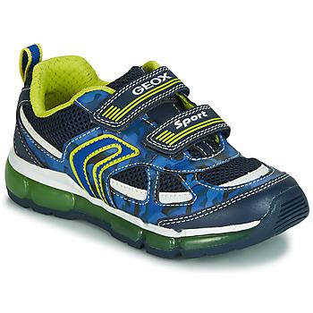Chaussures Garçon Baskets basses Geox J ANDROID BOY Marine / Jaune / LED