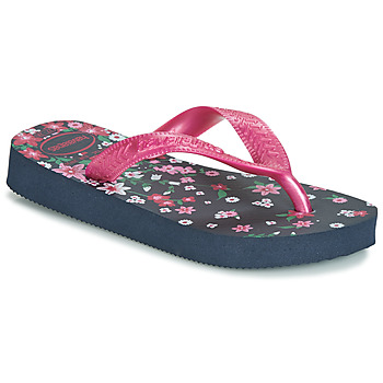 Chaussures Fille Tongs Havaianas KIDS FLORES Marine / Rose