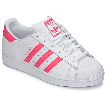 size 40 17a14 8b9e1 Chaussures Fille Baskets basses adidas Originals SUPERSTAR J Blanc   rose