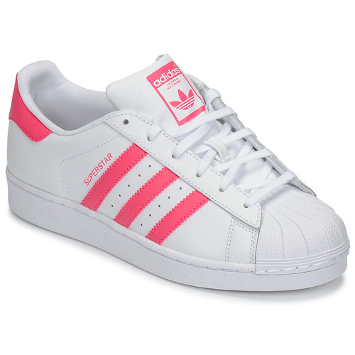 Chaussures Fille Baskets basses adidas Originals SUPERSTAR J Blanc / rose