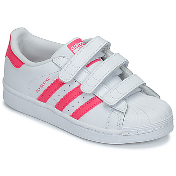 Chaussures Fille Baskets basses adidas Originals SUPERSTAR FOUNDATIO Blanc / rose