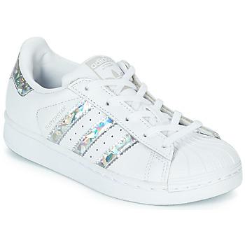 Chaussures Fille Baskets basses adidas Originals SUPERSTAR C Blanc / Argenté