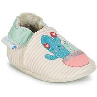 Chaussures Fille Chaussons bébés Robeez CACTUS Ecru / Rose