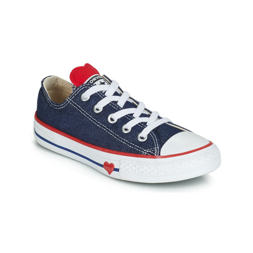 7f9ba8277efe Chaussures Fille Baskets basses Converse CHUCK TAYLOR ALL STAR SUCKER FOR  LOVE DENIM OX Bleu