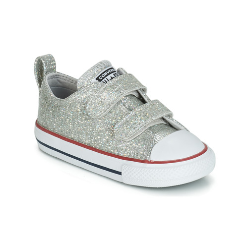 8cacc07dd7a49 Chaussures Fille Baskets basses Converse CHUCK TAYLOR ALL STAR 2V SPARKLE  SYNTHETIC OX Gris