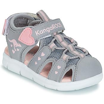 Chaussures Fille Sandales et Nu-pieds Kangaroos K-MINI Gris / Rose