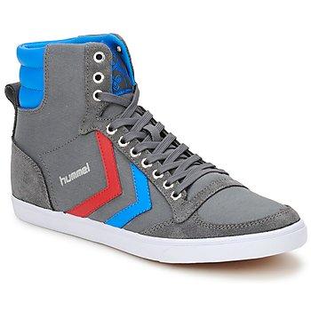 Chaussures Air max tnBaskets montantes Hummel TEN STAR HIGH CANVAS Gris / Bleu / Rouge