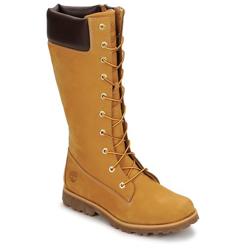 Chaussures Enfant Bottes ville Timberland GIRLS CLASSIC TALL LACE UP WITH SIDE ZIP Cognac