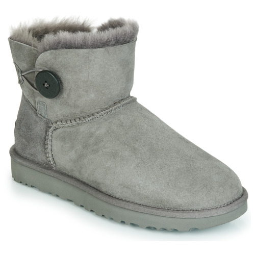 Chaussures Femme Boots UGG MINI BAILEY BUTTON II Gris