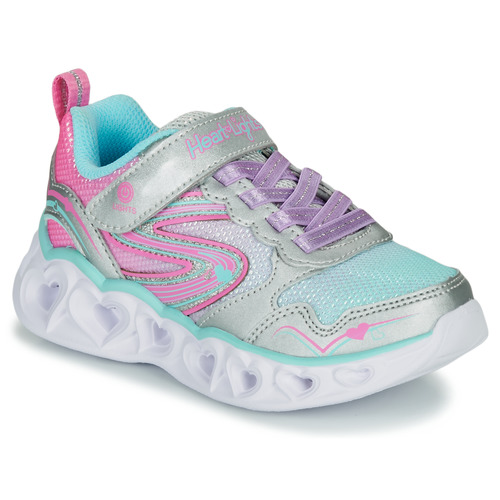 Chaussures Fille Baskets basses Skechers HEART LIGHTS Argenté / Rose / LED