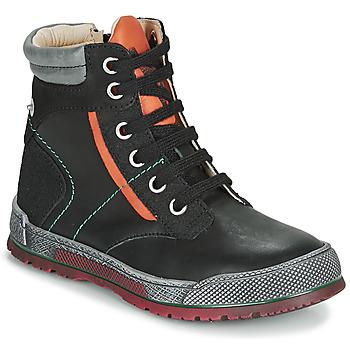 Chaussures Garçon Boots Achile MANUEL Noir / Orange