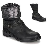 Chaussures Fille Bottes ville Ikks FLORA Noir / Argenté