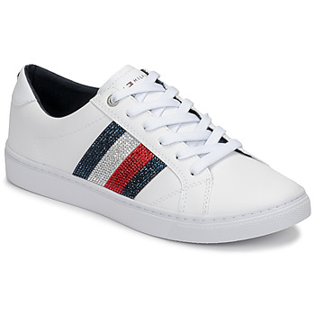 Chaussures Femme Baskets basses Tommy Hilfiger CRYSTAL LEATHER CASUAL SNEAKER Blanc