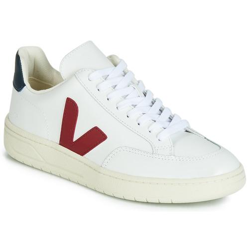 Chaussures Baskets basses Veja V-12 LEATHER Blanc / Bleu / Rouge
