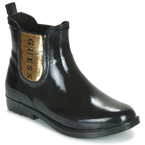 Chaussures Femme Bottes de pluie Guess REKHA3 Noir / Doré