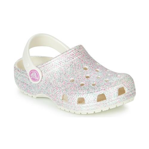 Chaussures Enfant Sabots Crocs CLASSIC GLITTER CLOG K Blanc