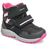 Chaussures Fille Bottes de neige Geox J KURAY GIRL B ABX Noir / Rose