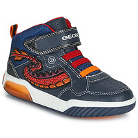Chaussures Garçon Baskets montantes Geox J INEK BOY Bleu / Rouge / LED