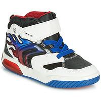 Chaussures Garçon Baskets montantes Geox J INEK BOY Blanc / Bleu / LED