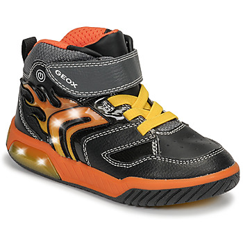 Chaussures Garçon Baskets montantes Geox J INEK BOY Noir / Orange