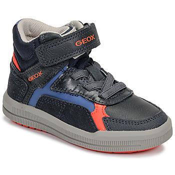 Chaussures Garçon Baskets montantes Geox J ARZACH BOY Bleu / Orange