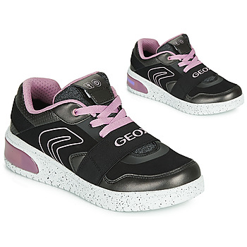 Chaussures Fille Baskets montantes Geox J XLED GIRL Noir / Rose / LED