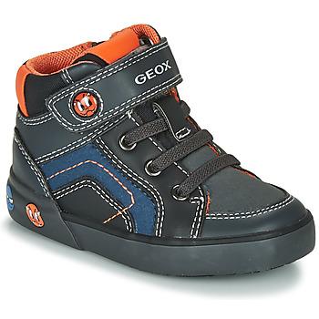 Chaussures Garçon Baskets montantes Geox B KILWI BOY Gris / Noir