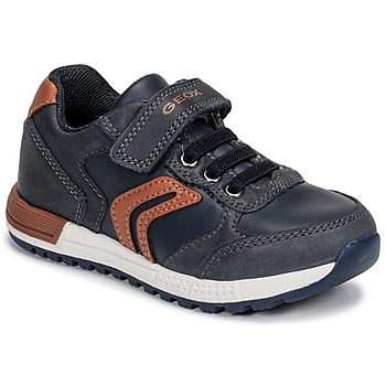Chaussures Garçon Baskets basses Geox B ALBEN BOY Bleu / Cognac