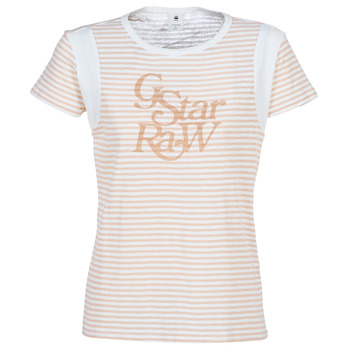 Vêtements Femme T-shirts manches courtes G-Star Raw FIRN Blanc / Rose