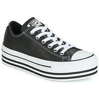 Chaussures Femme Baskets basses Converse CHUCK TAYLOR ALL STAR LAYER BOTTOM LEATHER OX Noir / Blanc / Noir