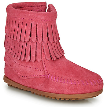 Chaussures Fille Boots Minnetonka DOUBLE FRINGE SIDE ZIP BOOT Rose
