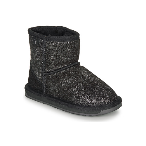 Chaussures Fille Boots EMU WALLABY MINI METALIC Noir