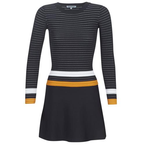 Vêtements Femme Robes courtes Morgan ROXFA Marine / Blanc / Jaune
