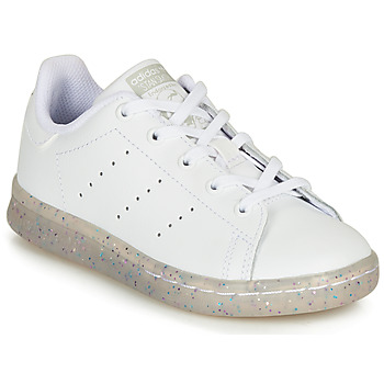 Chaussures Fille Baskets basses adidas Originals STAN SMITH C Blanc / Glitter
