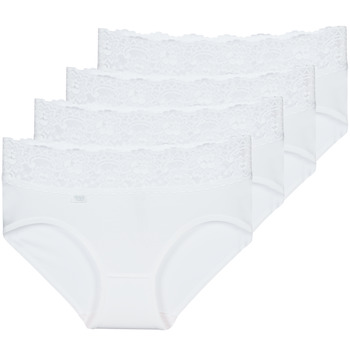 Sous-vêtements Femme Culottes & slips Sloggi  ROMANCE X 4 Blanc