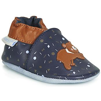 Chaussures Enfant Chaussons bébés Robeez GAME RUN Marine / Marron