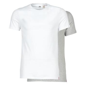 Vêtements Homme T-shirts manches courtes Levi's SLIM 2PK CREWNECK 1 Blanc / Gris
