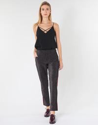 Vêtements Femme Pantalons 5 poches Maison Scotch TAPERED LUREX PANTS WITH VELVET SIDE PANEL Gris