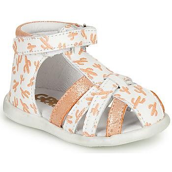 Chaussures Fille Sandales et Nu-pieds GBB AGRIPINE Blanc / Orange