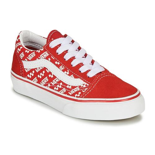 Chaussures Enfant Baskets basses Vans OLD SKOOL Rouge / Blanc