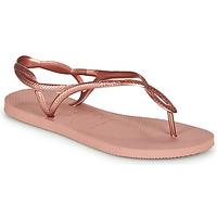 Chaussures Femme Tongs Havaianas LUNA Rose doré